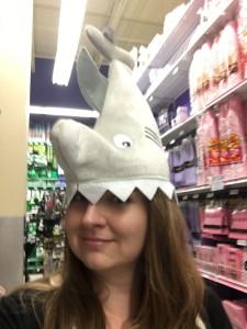 Helen wearing a shark hat
