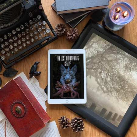 Picture of book cover for The Lost Librarians Grave, featuring a gargoyle